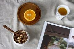 从新近地被紧压的橙汁在玻璃,一个桔子的一半的可口维生素早餐在一块木圆的板材的 免版税图库摄影