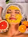 从新鲜水果的面部面具妇女的 女孩美丽的表面 免版税库存照片