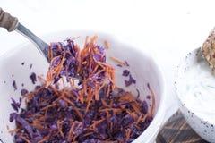 从新鲜的圆白菜和红萝卜的沙拉 黄瓜沙拉春天蕃茄有用的蔬菜维生素 午餐素食 鲜美和健康食物 复制空间 免版税库存照片