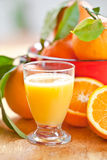 从新鲜的桔子的汁液 免版税库存照片