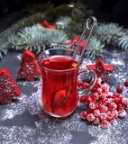 从新鲜的红色荚莲属的植物的茶在一块透明玻璃 库存照片