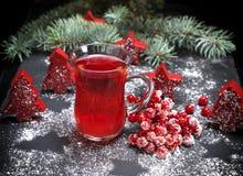 从新鲜的红色荚莲属的植物的茶在一块透明玻璃 库存图片