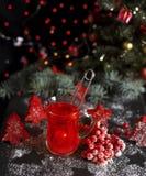 从新鲜的红色荚莲属的植物的茶在一块透明玻璃 图库摄影