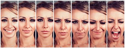 从是的少妇改变的情感愉快的对生气和恼怒尖叫 库存照片