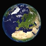 从显示欧洲和非洲的空间的地球 极端详细的图象,包括美国航空航天局装备的元素 其他取向 向量例证
