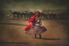 从普斯赫卡尔的印地安部族孩子 免版税库存图片