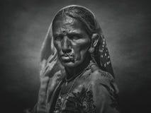 从普斯赫卡尔的印度部族妇女 使用艺术过滤器 库存图片