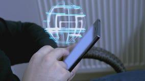 从智能手机的新技术全息图 库存例证