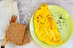 从有机自由放养的鸡蛋的煎蛋卷 库存图片