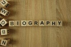 从木块的传记词 库存图片