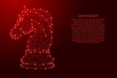 从未来派多角形红线和发光的星的棋马横幅的,海报,贺卡 也corel凹道例证向量 皇族释放例证