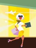 从机场界面的妇女运行 免版税库存照片