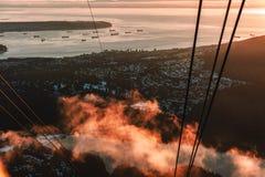 从松鸡山的温哥华视图在北温哥华区,BC,加拿大 图库摄影