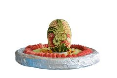从果子西瓜,瓜,桃子的静物画 免版税图库摄影