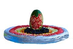 从果子西瓜,瓜,葡萄,桃子的静物画 免版税图库摄影