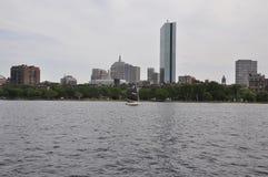 从查尔斯河的波士顿地平线Massachusettes国家的美国 免版税库存图片