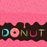 从桃红色多福饼的糖浆倾吐的食物 库存图片