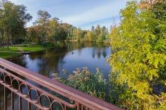 从桥梁的美丽的景色向忘记与道路的河一个轮在去在绿色中的岸的步行的 图库摄影