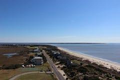 从橡木海岛灯塔的顶端看法 免版税库存图片