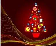 从民间花创造的抽象圣诞树 图库摄影