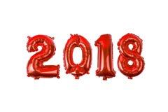 从气球的2018个数字在白色背景 免版税图库摄影