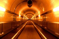 从汉堡的St圣保利队易北河隧道 图库摄影