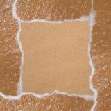 从沙子的在海滩的框架和通知 免版税库存图片