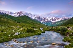 从河岸,盖用石头,打开在意想不到的冰川的看法并且浸泡与绿色草甸的落矶山脉 免版税库存照片