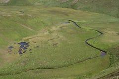 从河洪泛区的顶端全景有寒带草原湖的 免版税库存照片