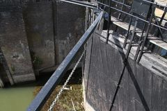 从河IJssel的老历史水闸设施作为纪念碑兹沃勒在荷兰,现今使用的市的 库存照片