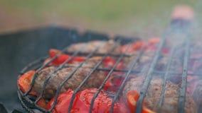 从油煎的肉的炸肉排在格栅用保加利亚红色甜椒 股票视频