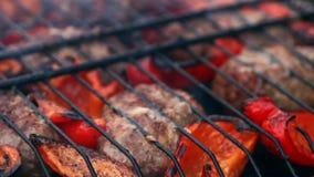 从油煎的肉的炸肉排在格栅用保加利亚红色甜椒 影视素材