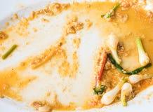 从油煎的螃蟹的浪费的食物用黄色咖喱 库存图片