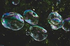 从泡影吹风机的彩虹泡影在公园 免版税库存照片