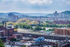 从波兰小山的地平线在北匹兹堡,宾夕法尼亚 库存照片