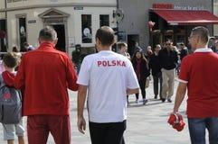 从波兰的足球迷COPENHAAGEN的 库存图片