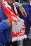 从波兰的足球迷COPENHAAGEN的 库存照片