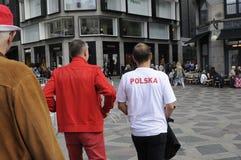 从波兰的足球迷COPENHAAGEN的 图库摄影