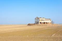 从波河盐水湖的农村意大利风景 免版税库存图片