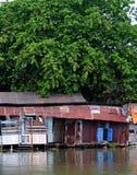 从波纹状的金属板的河沿老降低等级房子在大树下 库存照片