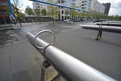 从波茨坦广场,波茨坦广场的印象在柏林从2017年4月11日,德国 库存照片