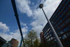 从波茨坦广场,波茨坦广场的印象在柏林从2017年4月11日,德国 免版税库存图片
