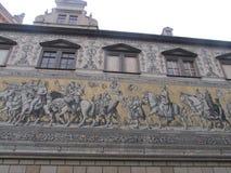 从泥工瓷,德累斯顿,德国的墙板 免版税库存照片