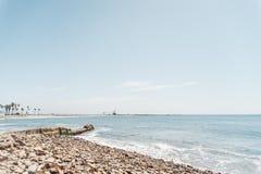 从海岸线的Breakwall 图库摄影