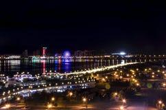 从海拔的夜城市 免版税库存图片