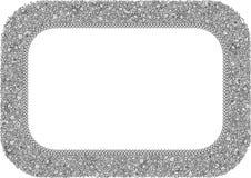 A4从海星、贝壳、螃蟹和珊瑚的概述图象的格式水平的黑白框架  免版税库存图片