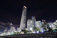 从海滩的地平线在晚上 冲浪者天堂 英属黄金海岸昆士兰 澳洲 免版税库存照片