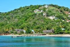 从海的看法在Canouan海岛上 圣文森特和格林纳丁斯 库存图片