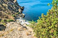 从海角Meganom的看法在克里米亚 库存照片