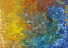从混合树胶水彩画颜料的五颜六色的背景在纸 库存图片